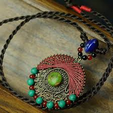 long ethnic necklace images Long maxi ethnic handmade green stone bronze pendants necklace for jpg