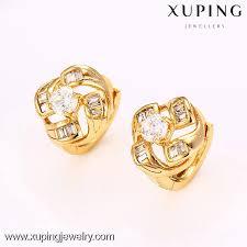 golden earrings 27173 18k gold plated diamond earring beautiful golden