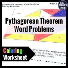 pythagorean theorem word problems coloring worksheet by mrs e