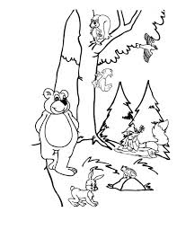 forest animals picture coloring page for kids coloring sky