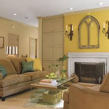 interior design cozy light brown yellow living room deciration
