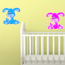 cute bunny with flower wall sticker decal nursery kids boys girls cute bunny with flower wall sticker decal nursery kids boys girls poster vinyl