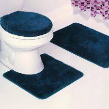 3 piece solid navy blue bathroom set bath mat contour lid cover