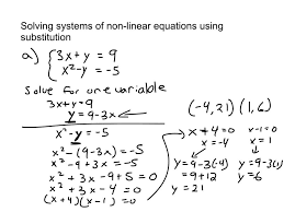 109 solving systems of non linear equations using substitution