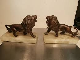 marble lion bookends bronze bookends antique vintage bronze cast on marble lion