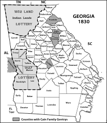 Map Of Tennessee And Georgia by 1820 Georgia County Map With 1827 And 1832 Land Lottery Areas