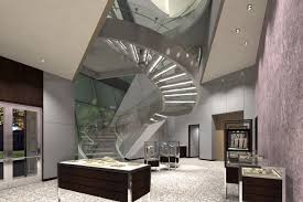 classy wooden floors and step added glass staircase banister as