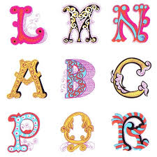 white michael miller fabric abc alphabet ornament dots stripes