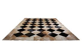 Leather Area Rugs Beige And Black Leather Area Rug Squares Design By Shine In