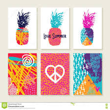 Pineapple Trend by Summer Set Of Colorful Happy Design With Pineapple Stock Vector