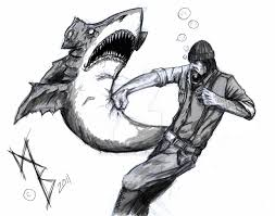 lumberjack shark fight by fromthedeep999 on deviantart