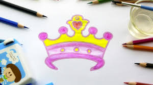 how to draw pink princess crown coloring pages for children