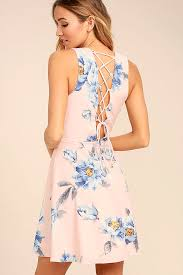 print dress blush pink dress floral print dress lace up dress