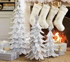 white glitter trees pottery barn
