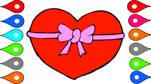 art for kids learn to draw heart shape painting for children