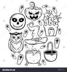 halloween white background black white doodle halloween elements outline stock vector