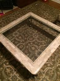 wrought iron pewter color marble and glass top coffee table and
