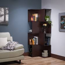 Walnut Corner Bookcase Furniture Of America Henley Contemporary Alternating 12 Shelf
