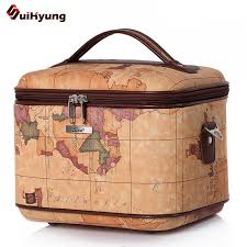 makeup artist box new quality pu leather cosmetic bag fashion map pattern styling