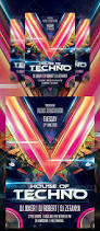 techno electro music party club flyer poster template free club