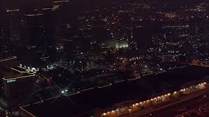 Light The Night Houston 4k Footage Arial View Of Flying Drone Through The Night Light City