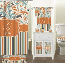 Chevron Bathroom Decor by Orange Blue Swirls U0026 Stripes Bathroom Accessories Set