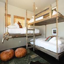 Rustic Plank Bunk Beds Design Ideas - Suspended bunk beds