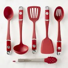 Red Kitchen Utensil Set - nonstick cooking utensils williams sonoma