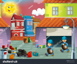 cartoon mechanic workshop working men cleaning stock illustration