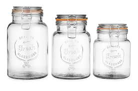 glass canister set lids kitchen bathroom apothecary vanity candy