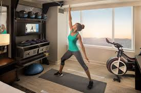 in hilton u0027s new fitness friendly rooms you can literally roll out
