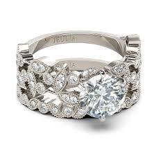 Wedding Rings Sets by Jeulia Leaf Shape 2 0 Ct Round Cut Created White Sapphire Wedding
