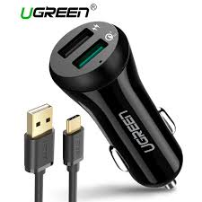 phone charger ugreen 3a car charger 18w quick charge 3 0 car charger with