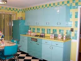 Red And Teal Kitchen by Awesome Retro Kitchen Style With Red Stools And Checkerboard