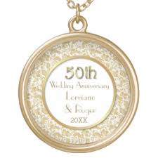 50th anniversary gold plate 50th golden wedding anniversary necklaces lockets zazzle