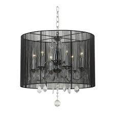 Crystal Chandelier With Black Shade And Wrought Iron Traditional