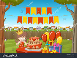 The Backyard Banners Over Cartoon Birthday Party Stock Vector 455312869