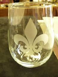 fleur de lis gifts stemless wine glasses stemless fleur de lis wine glasses