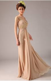 chiffon champagne long prom dress with straps on sale on