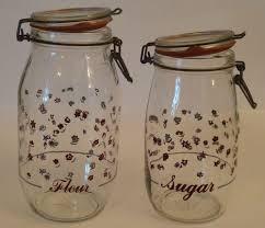 vintage glass canisters kitchen set of 2 vintage glass canister storage jars 2l 1 5l blue