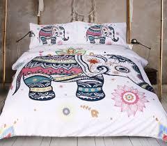 rainbow mandala elephant duvet cover set