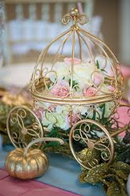 Cinderella Wire Carriage Centerpieces by Gorgeous Gold Carriage Cinderella Party Centerpieces Princess
