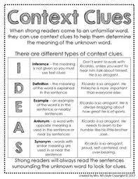 free 5 types of context clues poster follow for