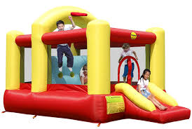 duplay puppy land kids bouncy castle with slide 9109 amazon co