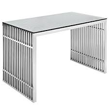 Stainless Steel Office Desk Modway Gridiron Stainless Steel Office Desk In Silver