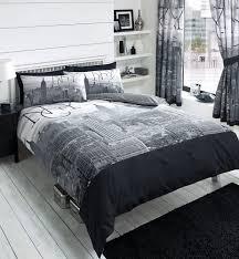 new york city skyline black u0026 grey printed duvet cover bed set