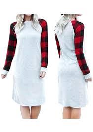Christmas Dresses Grey Patchwork Plaid Long Sleeve Casual Dress