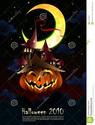 halloween invitation poster spooky castle grow stock photo