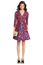 heritage dvf amelia silk combo flared wrap dress in vintage