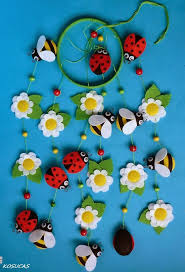 natural diy bead felt flower and insects mobile home decor felt